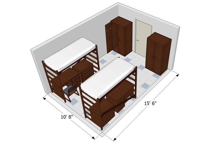 Glenn Hall room detail diagram for a bedroom