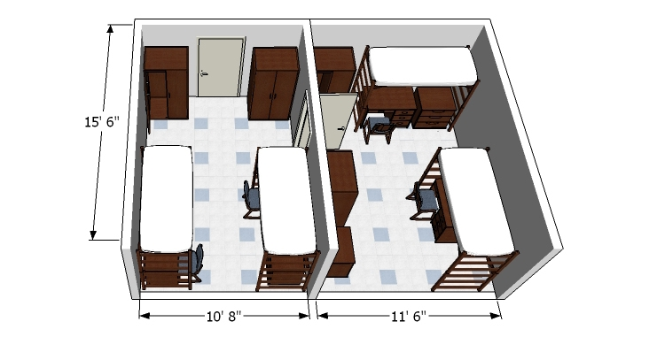 Glenn Hall room detail diagram for a quad bedroom