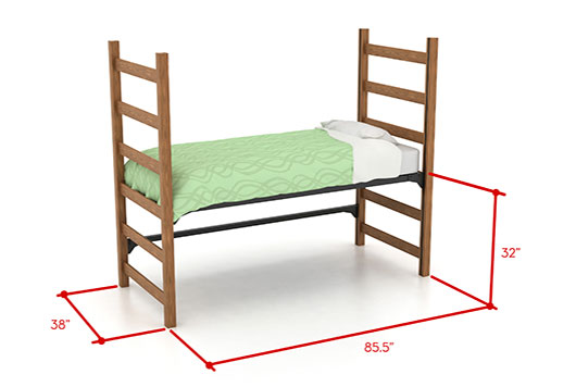 Picture of medium lofted bed with dimensions