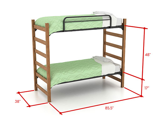 picture of bunked beds with dimensions