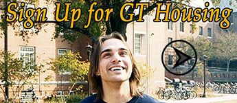 Picture of student on campus. Link to Sign Up for GT Housing video