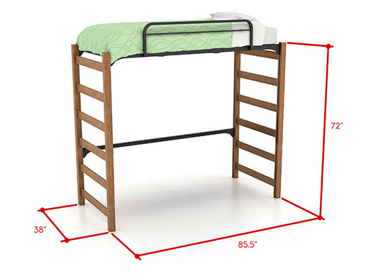 Picture of high lofted bed with dimensions
