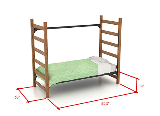 picture of low bed with dimensions